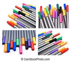 コラージュ, 別, ペン, 色
