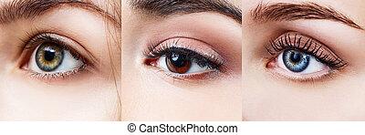 コラージュ, 別, 女性, eyes.