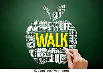 コラージュ, 単語, アップル, 雲, 歩きなさい