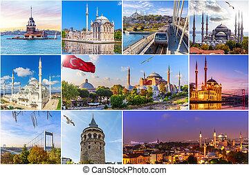 コラージュ, 場所, 有名, イスタンブール, トルコ