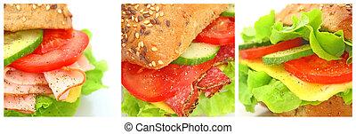 コラージュ, 多数, 別, sandwichs, 新たに
