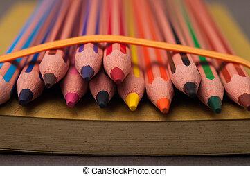 コラージュ, 多色刷り, pencils.