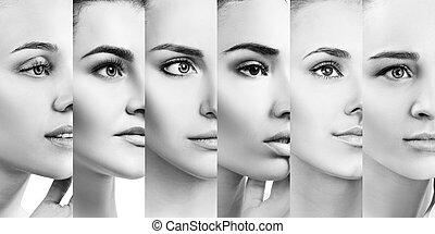 コラージュ, 女性, 完全, skin., 美しい