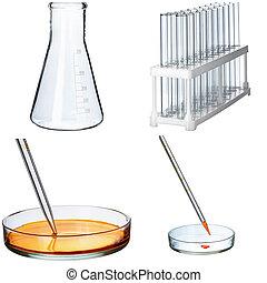 コラージュ, 実験室, 白い背景, ガラス製品