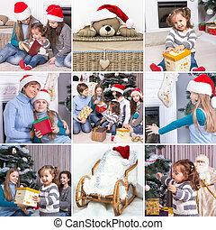 コラージュ, 家族, christmas:, 主題, おもちゃ, 子供, クリスマス, 幸せ