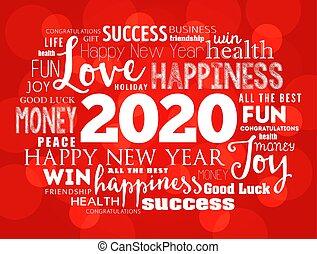 コラージュ, 年, 2020, 単語, 雲, 挨拶
