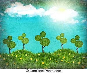 コラージュ, 性質の景色, 手ざわり, 太陽, 古い, グランジ, 丘, 緑の草