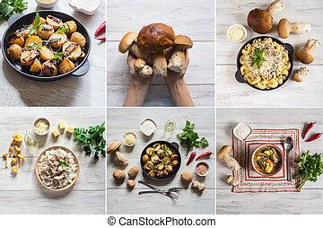 コラージュ, 提示, 皿, mushrooms.