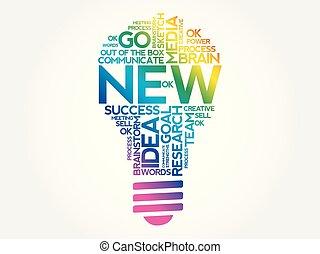 コラージュ, 新しい, 単語, 雲, 電球