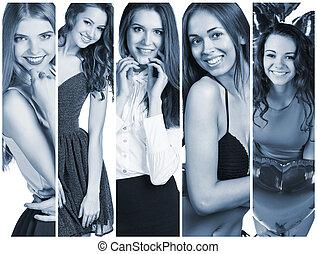 コラージュ, 美しい, 若い女性たち