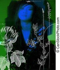 コラージュ, 肖像画, 芸術的, 使うこと, モデル, 花