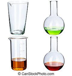 コラージュ, 背景, 実験室, 白, ガラス製品