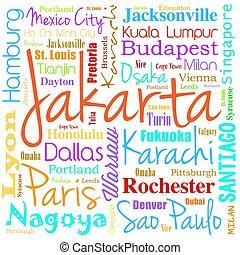 コラージュ, 都市, 単語, 雲, 世界