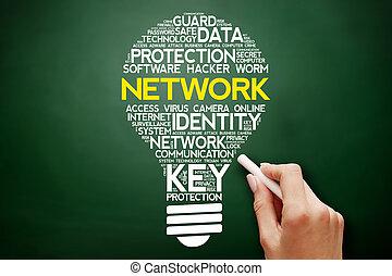 コラージュ, 電球, 単語, ネットワーク, 雲