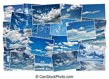 コラージュ, 青い空, 曇り