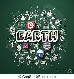 コラージュ, 黒板, エコロジー, アイコン