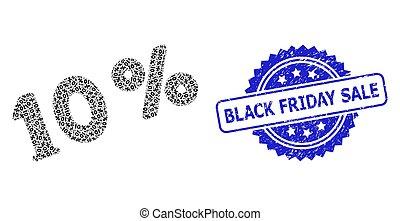 コラージュ, 黒, 金曜日, 10, percents, recursion, アイコン, 切手, グランジ, セール