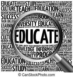 コラージュ, educate., 教育, 単語
