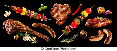 コラージュ, grilled 野菜, 様々, 肉