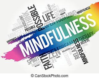 コラージュ, mindfulness, 雲, 単語