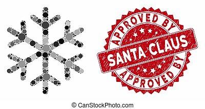 コラージュ, santa, textured, 雪片, 公認, 切手, claus