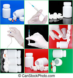 コラージュ, syringe., medicine-, 丸薬