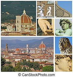 コラージュ, touristic, フィレンツェ, 魅力, イタリア, トスカーナ, フィレンツェ, ヨーロッパ