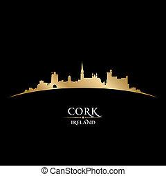 コルク, アイルランド, 都市 スカイライン, シルエット, 黒い背景