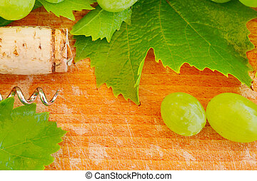 コルク, 葉, ブドウ, 背景, ワイン