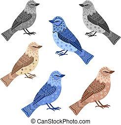 コレクション, あなたの, デザイン, 民族, モノクローム, 鳥