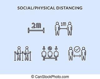 コレクション, ∥あるいは∥, distancing, 健康診断, セット, アイコン, 距離, 社会