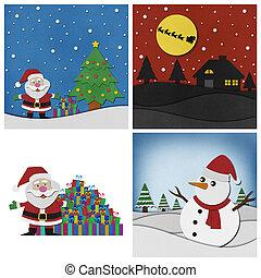 コレクション, の, クリスマス, papercraft, バックグラウンド。