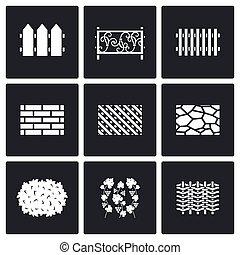 コレクション, の, フェンス, から, 別, 材料, アイコン, set., ベクトル, illustration.