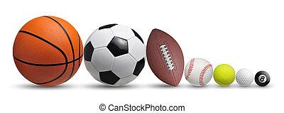 コレクション, の, ボール, 隔離された, 白, 背景
