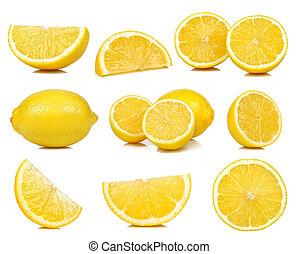 コレクション, の, レモン, 隔離された, 白, 背景