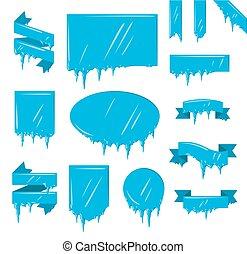 コレクション, の, 凍らせられた, つらら, 雪, 冬, 旗, セット