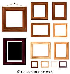コレクション, の, 型, 木製のフレーム
