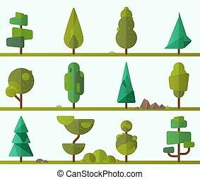 コレクション, の, 幾何学的, 木