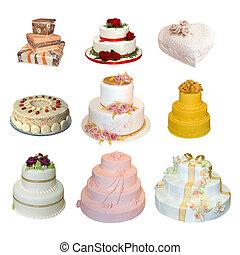 コレクション, の, 様々, タイプ, の, 結婚式のケーキ