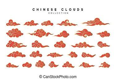 コレクション, の, 赤, そして, 金の雲, 中に, 中国語, スタイル