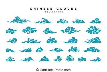 コレクション, の, 青, 雲, 中に, 中国語, スタイル