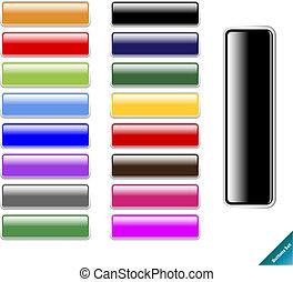 コレクション, の, multi 有色人種, グロッシー, インターネット, buttons.easy, へ, 編集,...