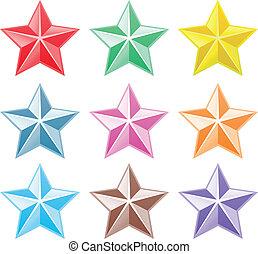 コレクション, カラフルである, 星