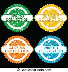 コレクション, スタンプ, 季節, グランジ, それぞれ