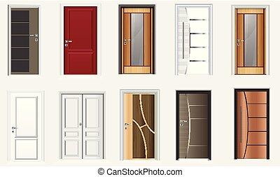 コレクション, ドア, 部屋, カラフルである, アイコン