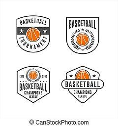 コレクション, バスケットボール, ベクトル, トーナメント, ロゴ