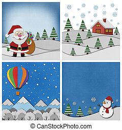 コレクション, バックグラウンド。, クリスマス, papercraft
