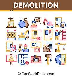 コレクション, ベクトル, アイコン, 建物, セット, 破壊