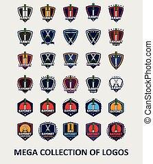 コレクション, ロゴ, 大きい, ベクトル, 銃剣
