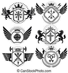 コレクション, 型, heraldic, デザイン, 腕, ベクトル, コート, emblems., set.